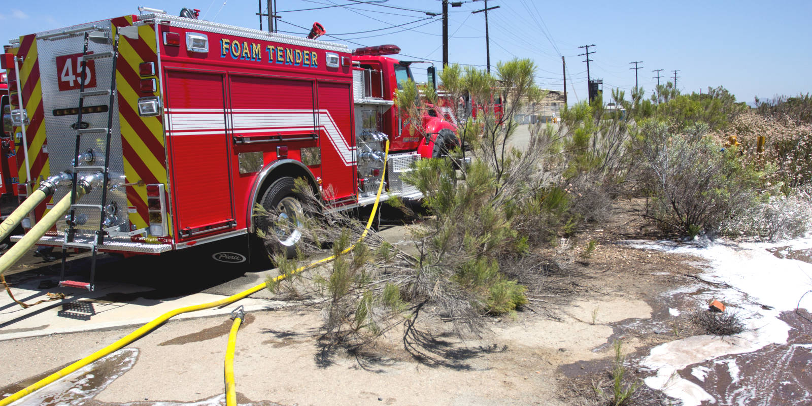 San Diego City's foam tender on a test site