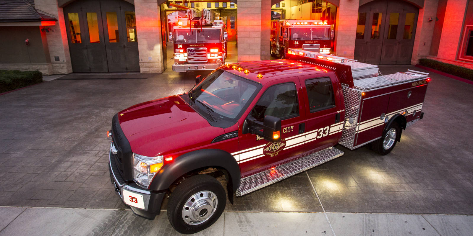 National City Firematic patrol in front of the station